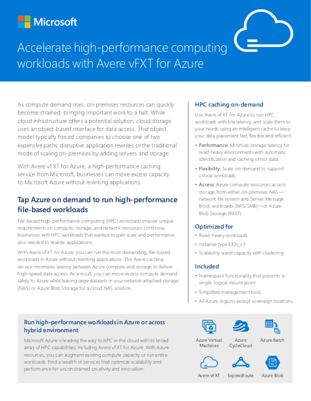 Avere vFXT for Azure Datasheet