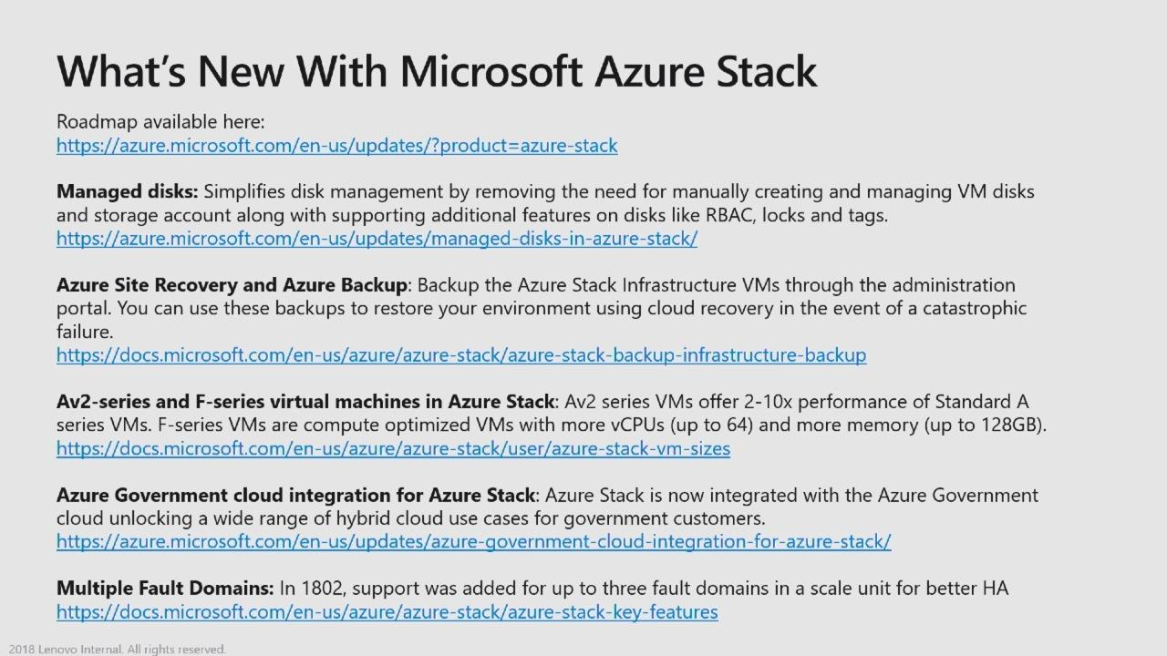 Recent Azure Stack technology advancements