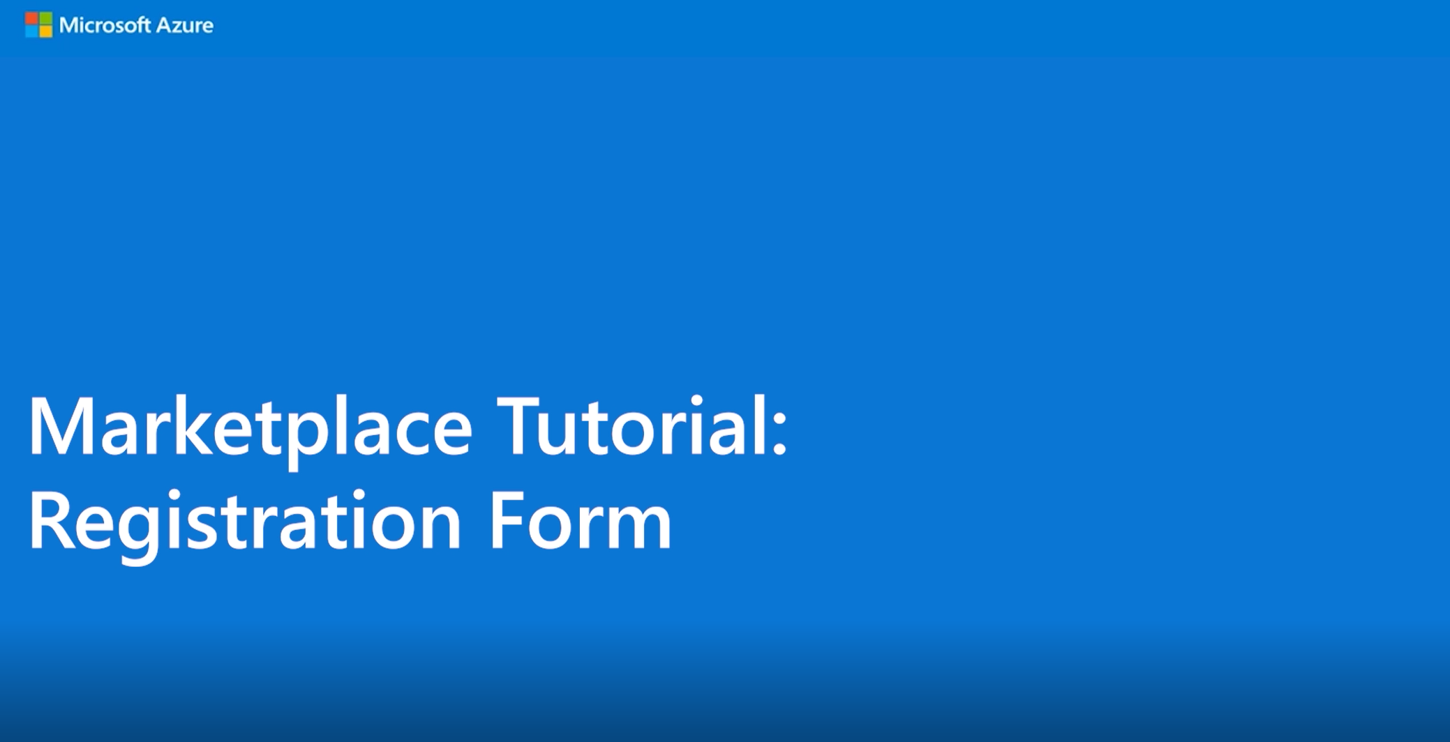 Marketplace Tutorial: Marketplace Registration Form