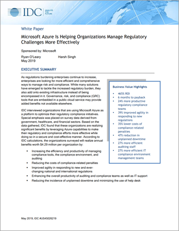 Microsoft Azure Is Helping Organizations Manage Regulatory Challenges More Effectively