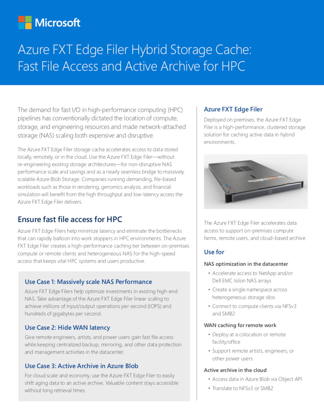 Azure FXT Edge Filer Hybrid Storage Cache: Fast File Access and Active Archive for HPC