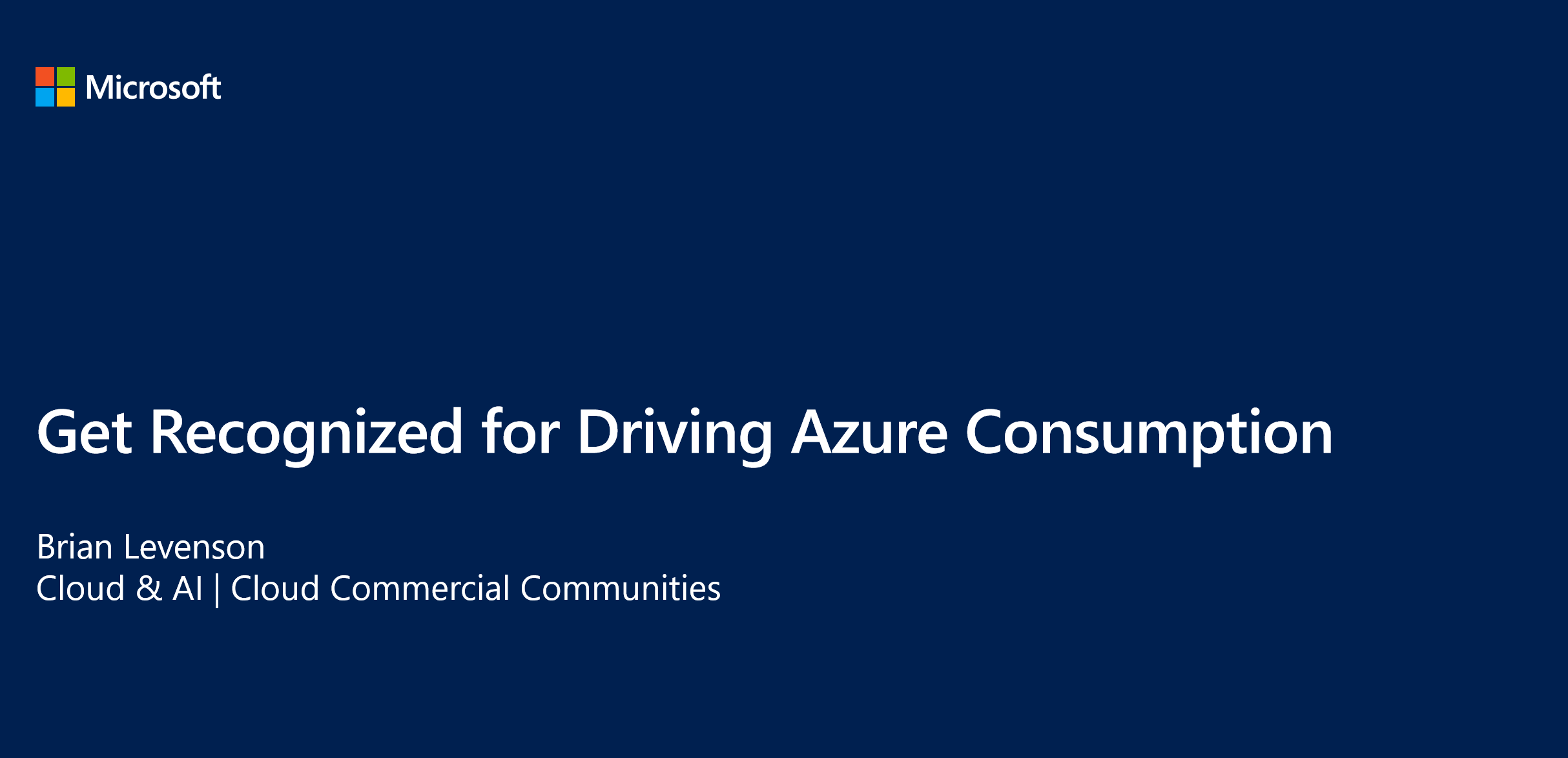 Get Recognized for Driving Azure Consumption
