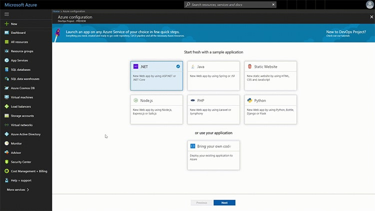 Start fresh with a sample application, choose an application framework, select an Azure service to deploy the application, and provide a few details to create the continuous delivery pipeline in Visual Studio Team Services.