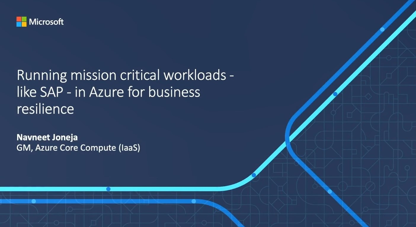 Running mission critical workloads – like SAP – in Azure for business resilience