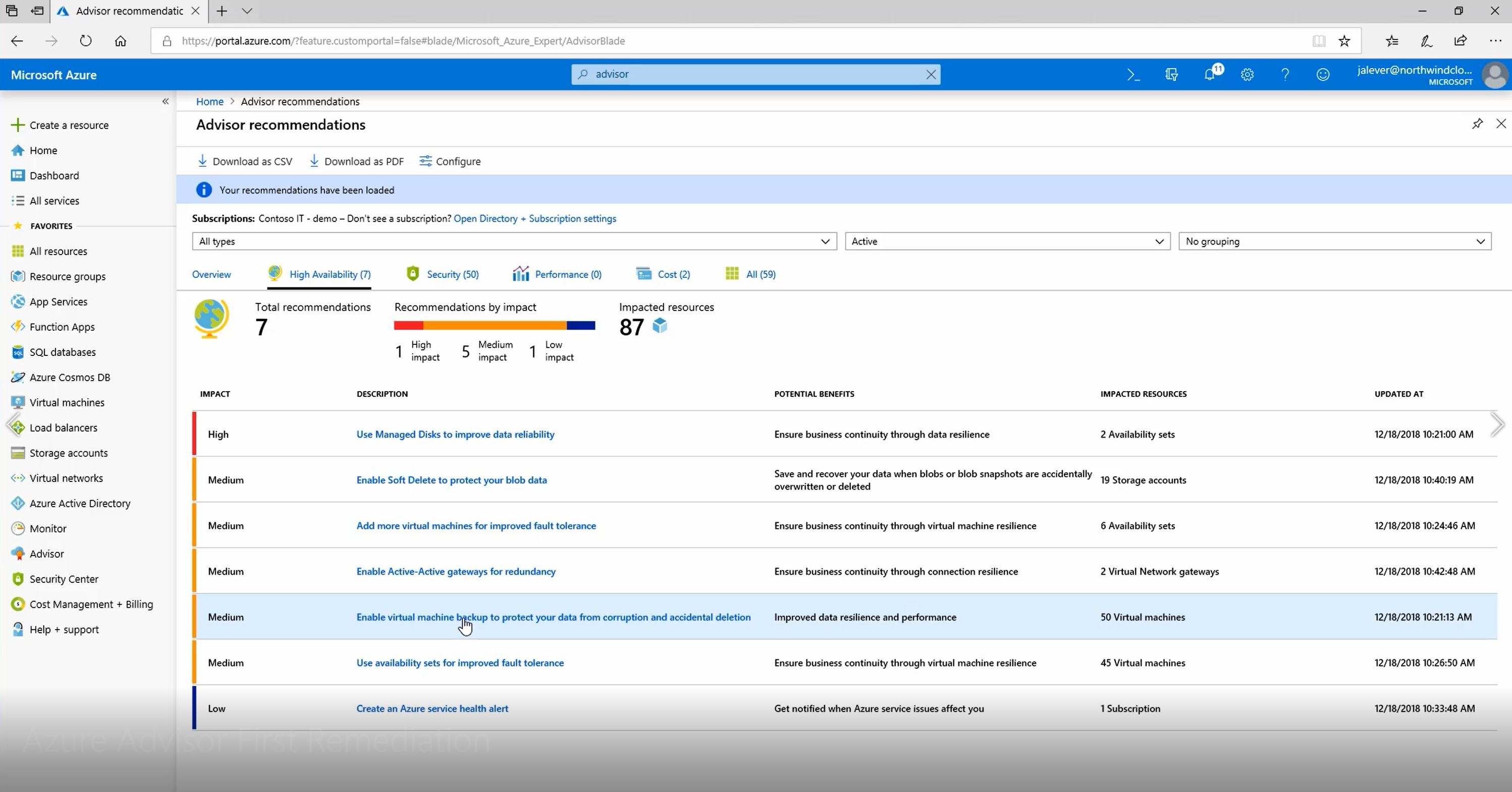 How to remediate your first Azure Advisor recommendation