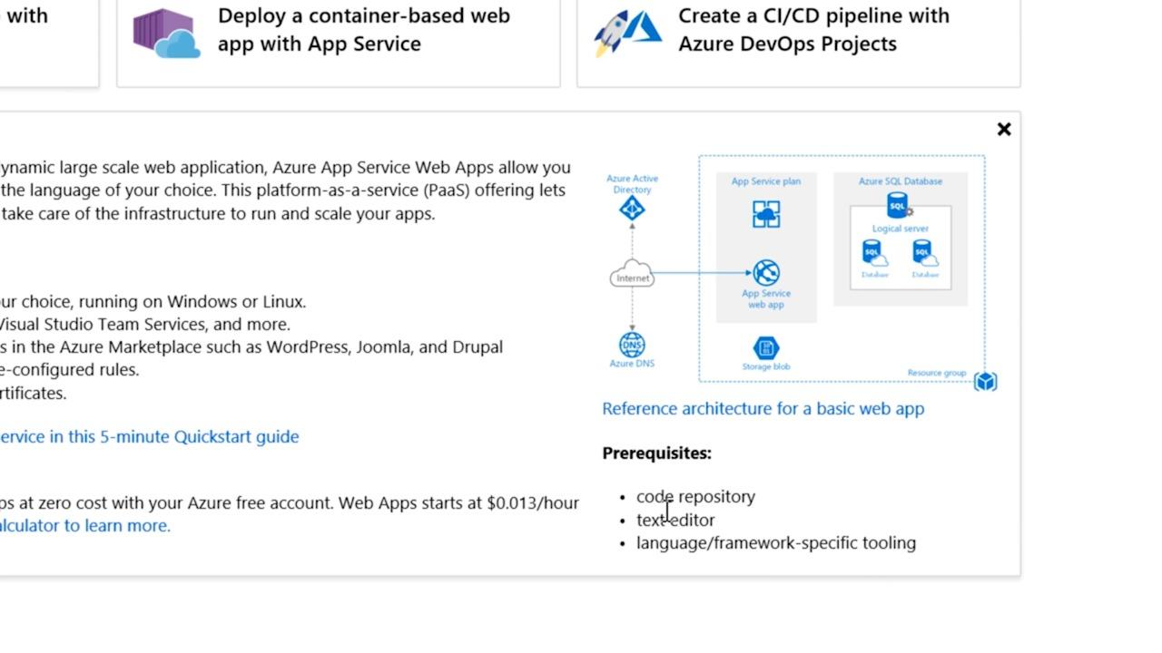 Get service recommendations for your solutions with Azure Quickstart center