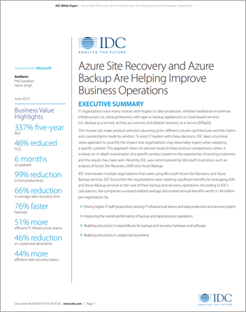 IDC Study: Azure Site Recovery and Azure Backup Are Helping Improve Business Operations