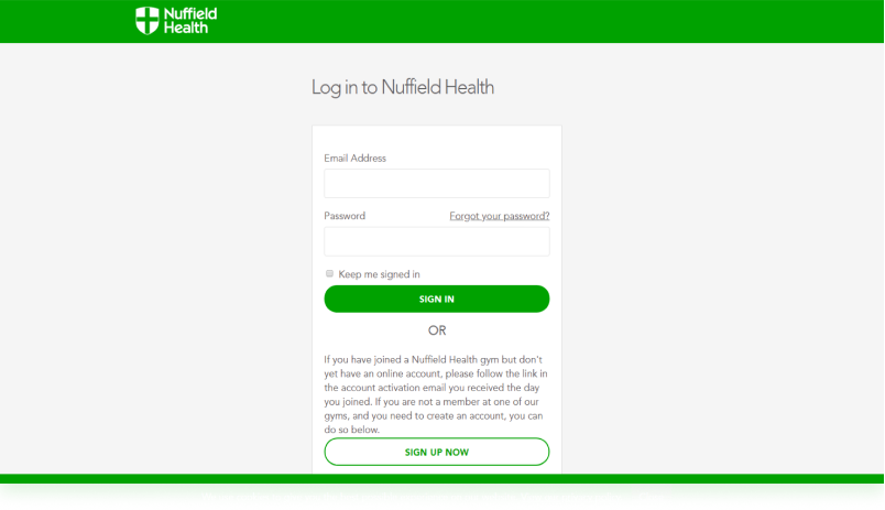 Customized log-in portal for Nuffield Health, the United Kingdom's largest healthcare charity.