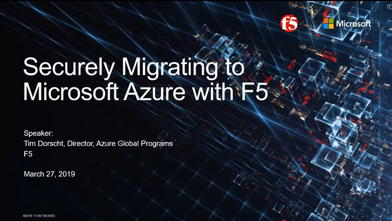 Securely Migrating to Azure with F5