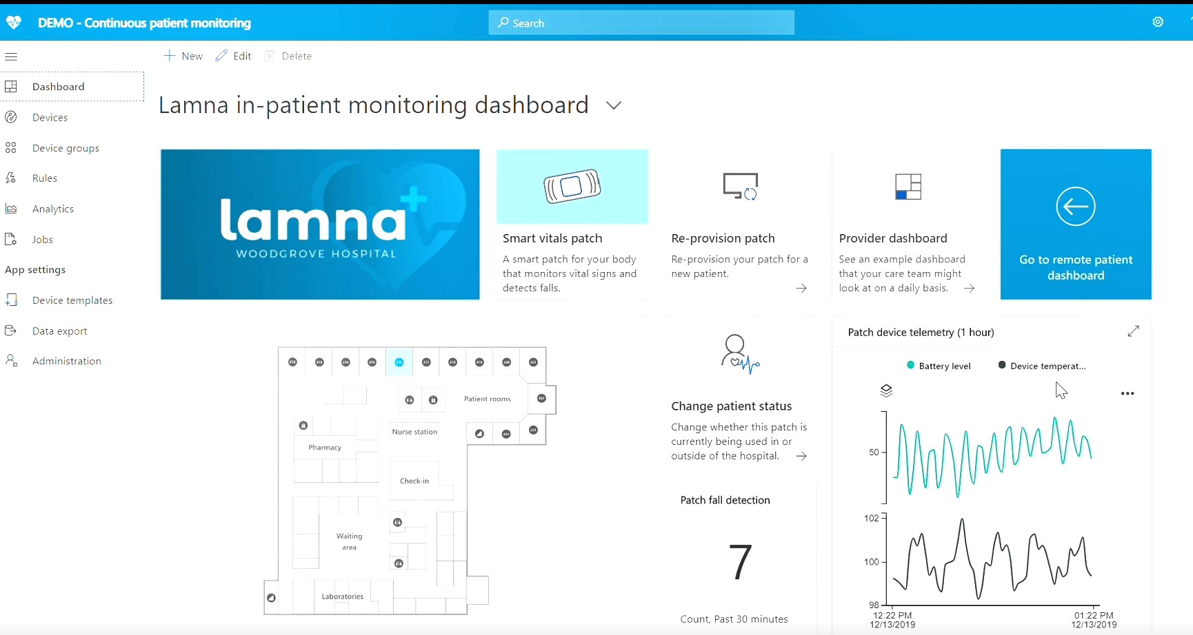 Demo video of Azure IoT Central Healthcare app templates