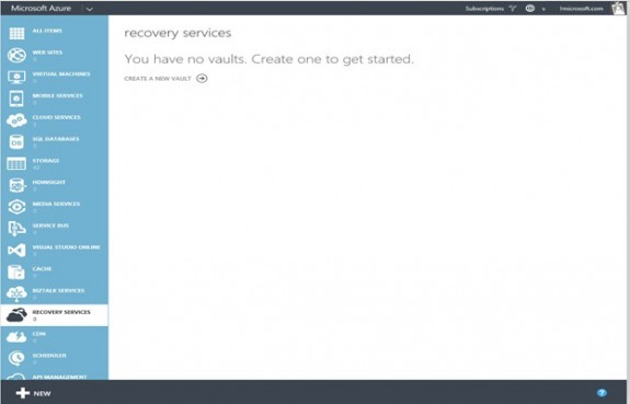 Azure Backup Recovery Services - Backup Vaults page