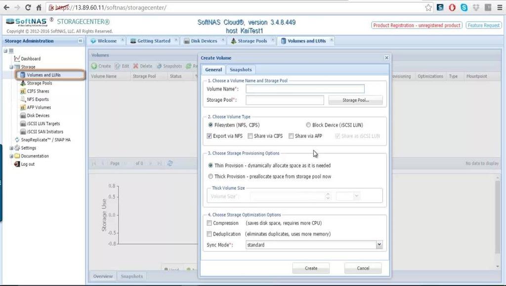 SoftNAS StorageCenter web console