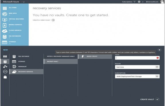 Azure Backup Recovery Services - Create vaults
