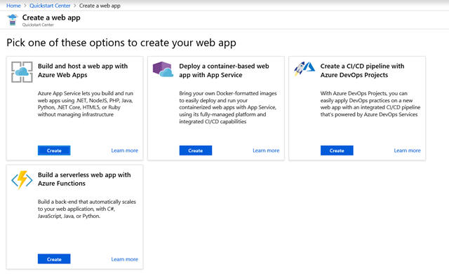 Screenshot displaying the creation of a web app