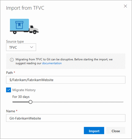 import into Git from TFVC