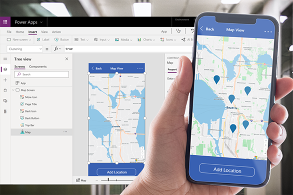 Azure Maps interactive vector tiles in Power Apps.