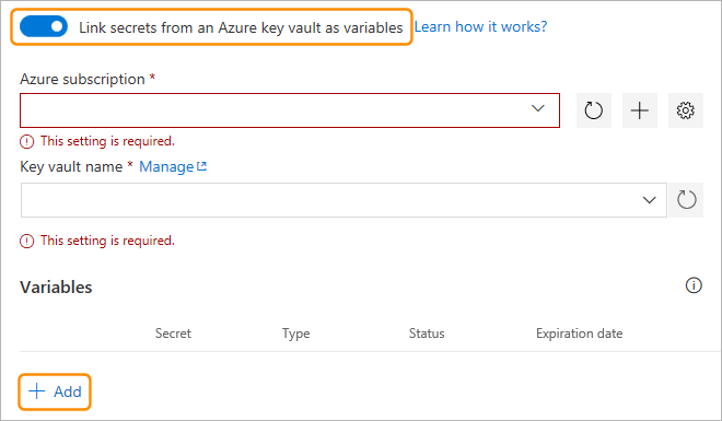 link to secret in Azure Key Vault