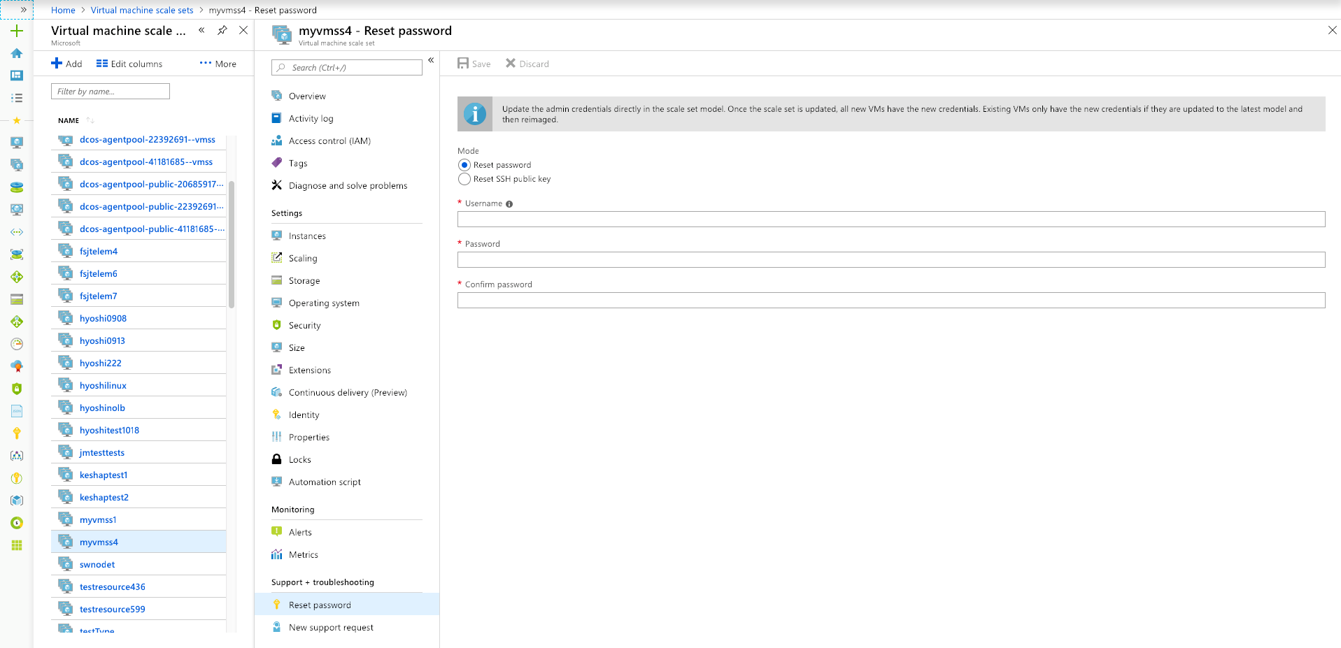 Screenshot of Azure portal reset to virtual machine scale set instances password