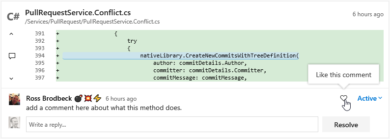 Like pull request comments