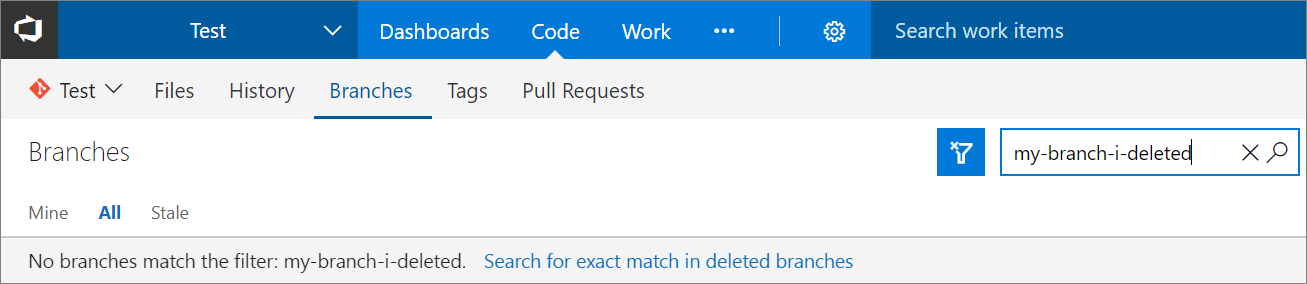 Search deleted branches