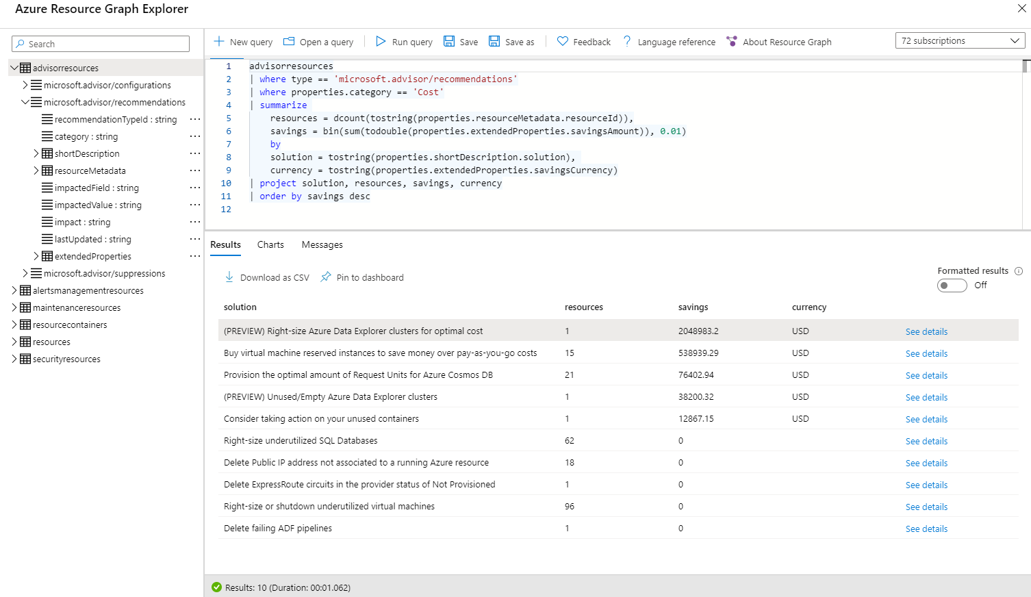 Query Azure Advisor cost recommendations in Azure Resource Graph from the Azure portal