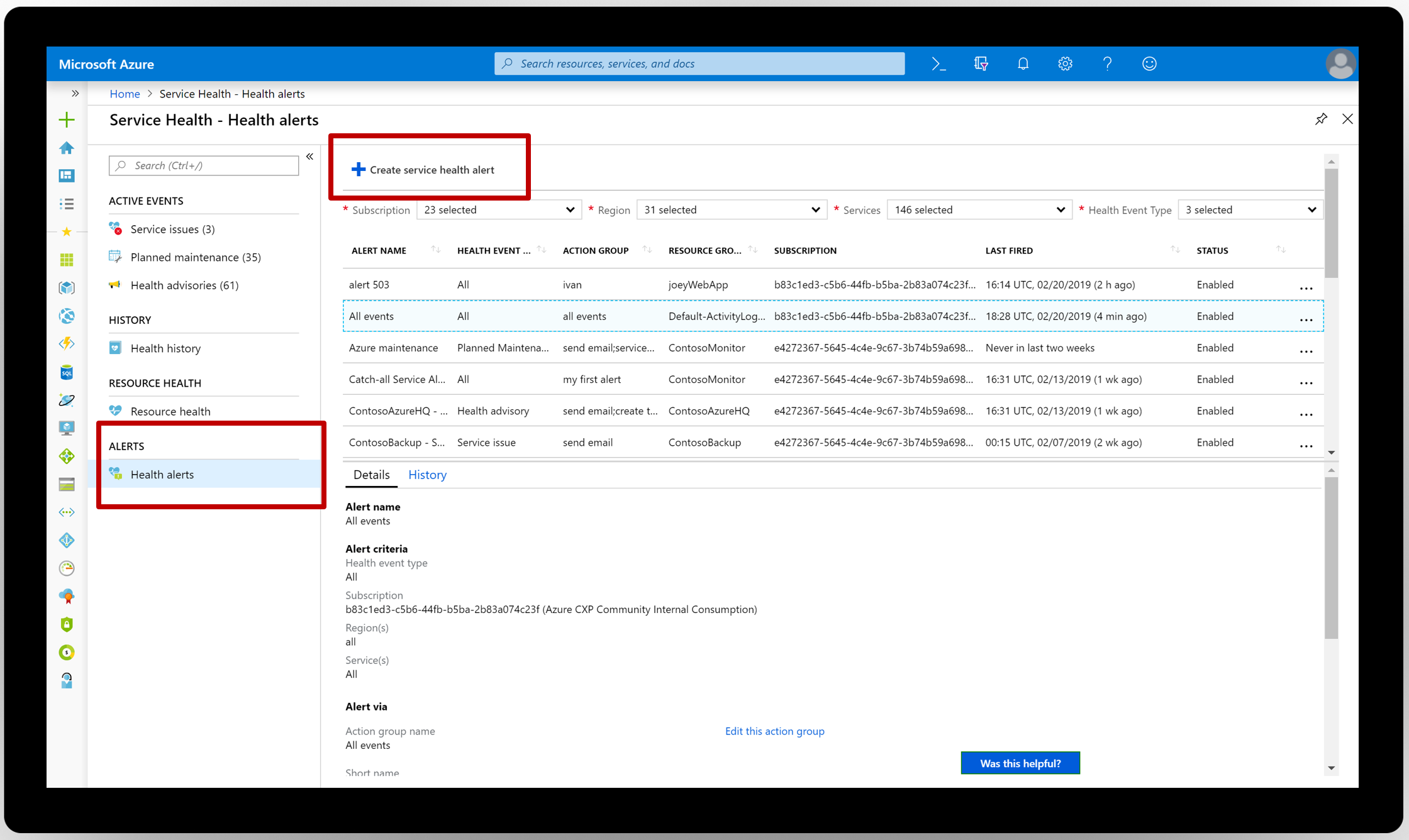 Create service health alerts in Azure Service Health
