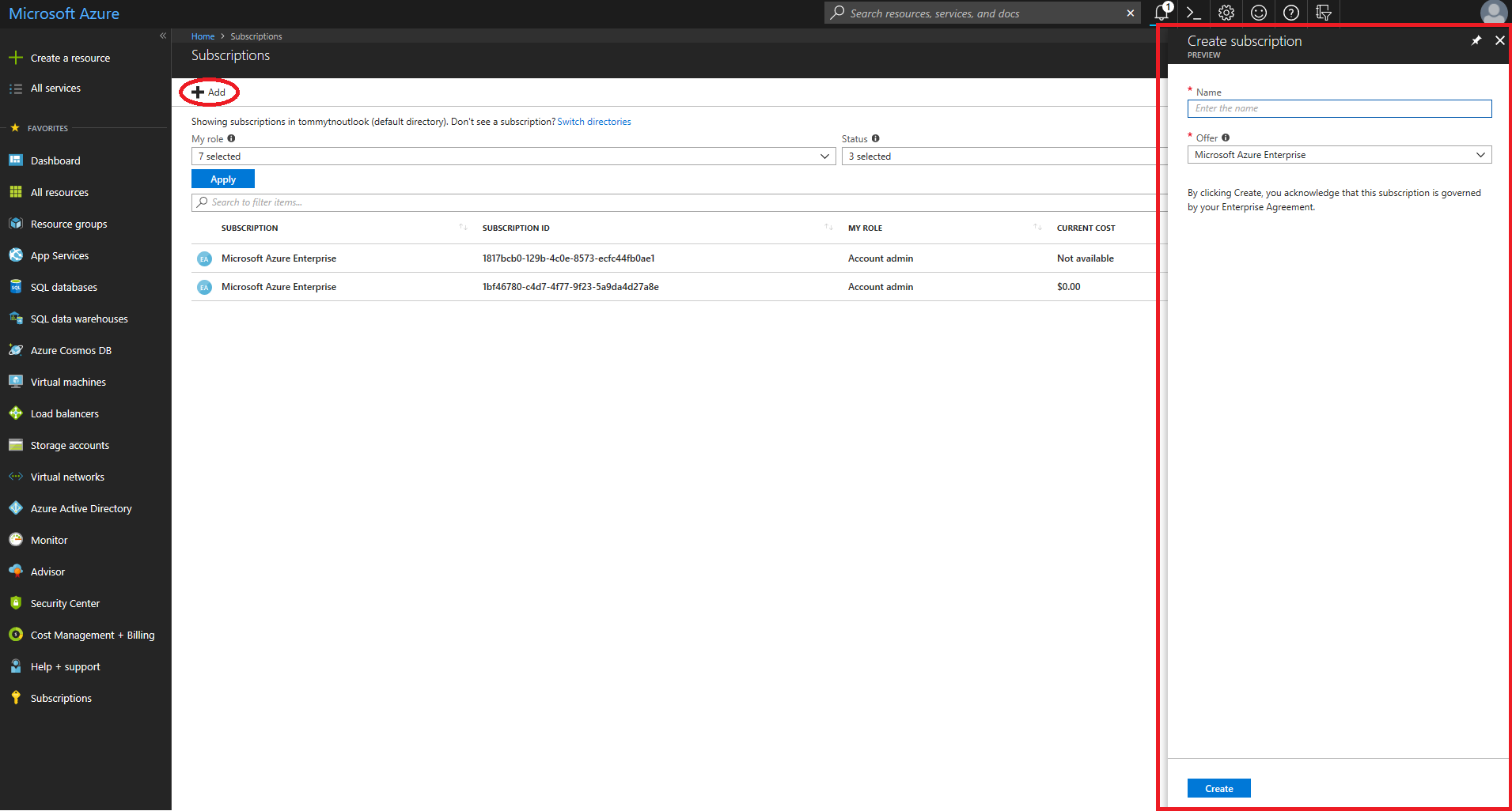 Now in Preview: EA customers can create Azure subscriptions in the Azure portal