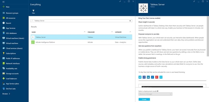 Tableau in Azure Marketplace