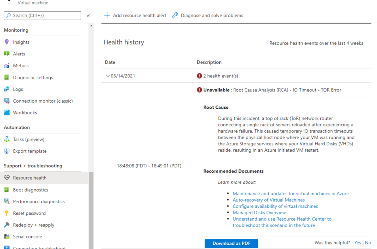 """A screenshot of the Azure portal """"health history"""" blade showing root cause details foran example of a VM issue."""