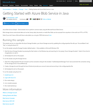 Microsoft Azure Storage samples page