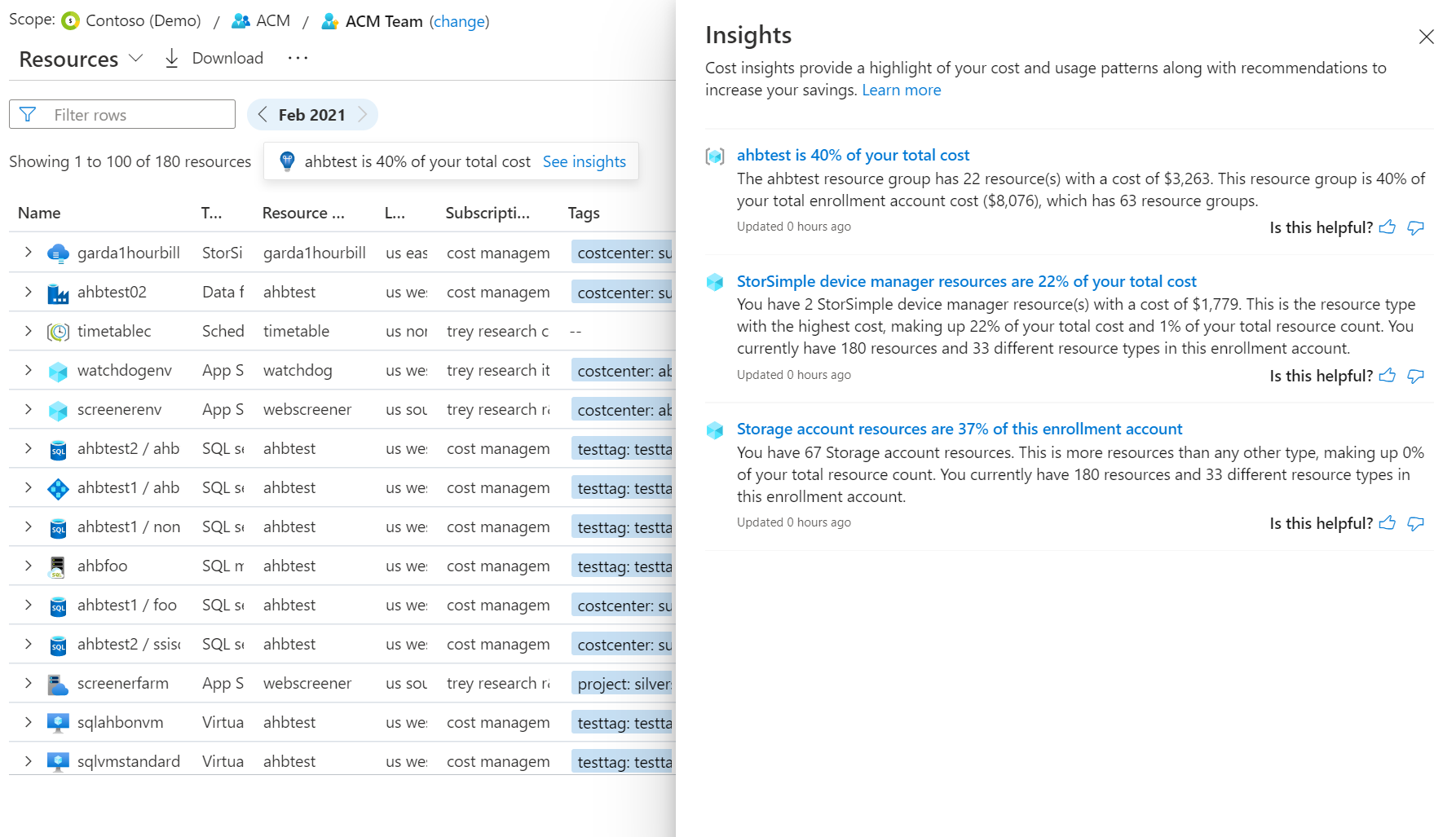 Cost insights available from the cost analysis preview in the Azure portal