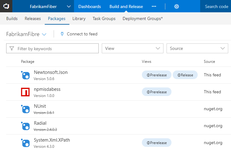 NuGet upstream source