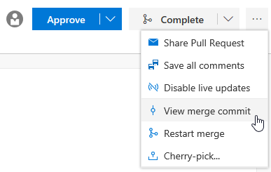 View pull request merge commit