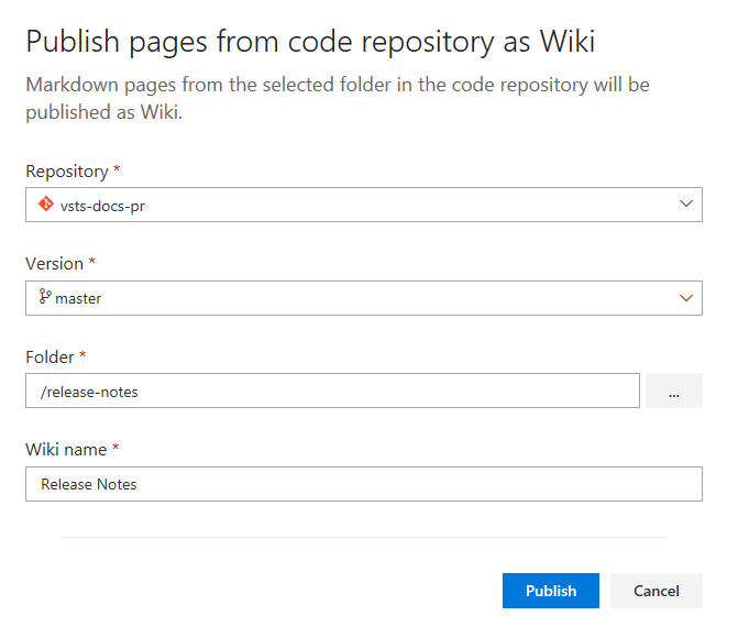 publish pages dialog