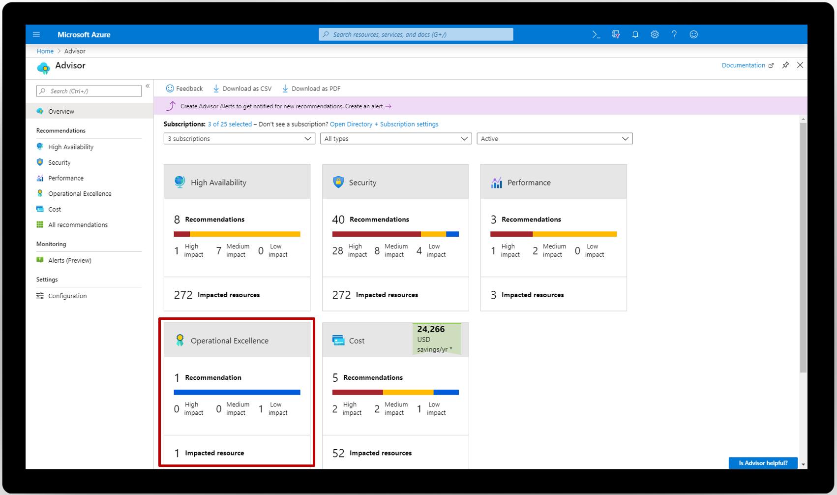 新しいオペレーショナル エクセレンス カテゴリを示す、Azure portal 内の Azure Advisor のスクリーンショット。