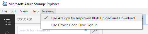 Enable AzCopy in Azure Storage Explorer