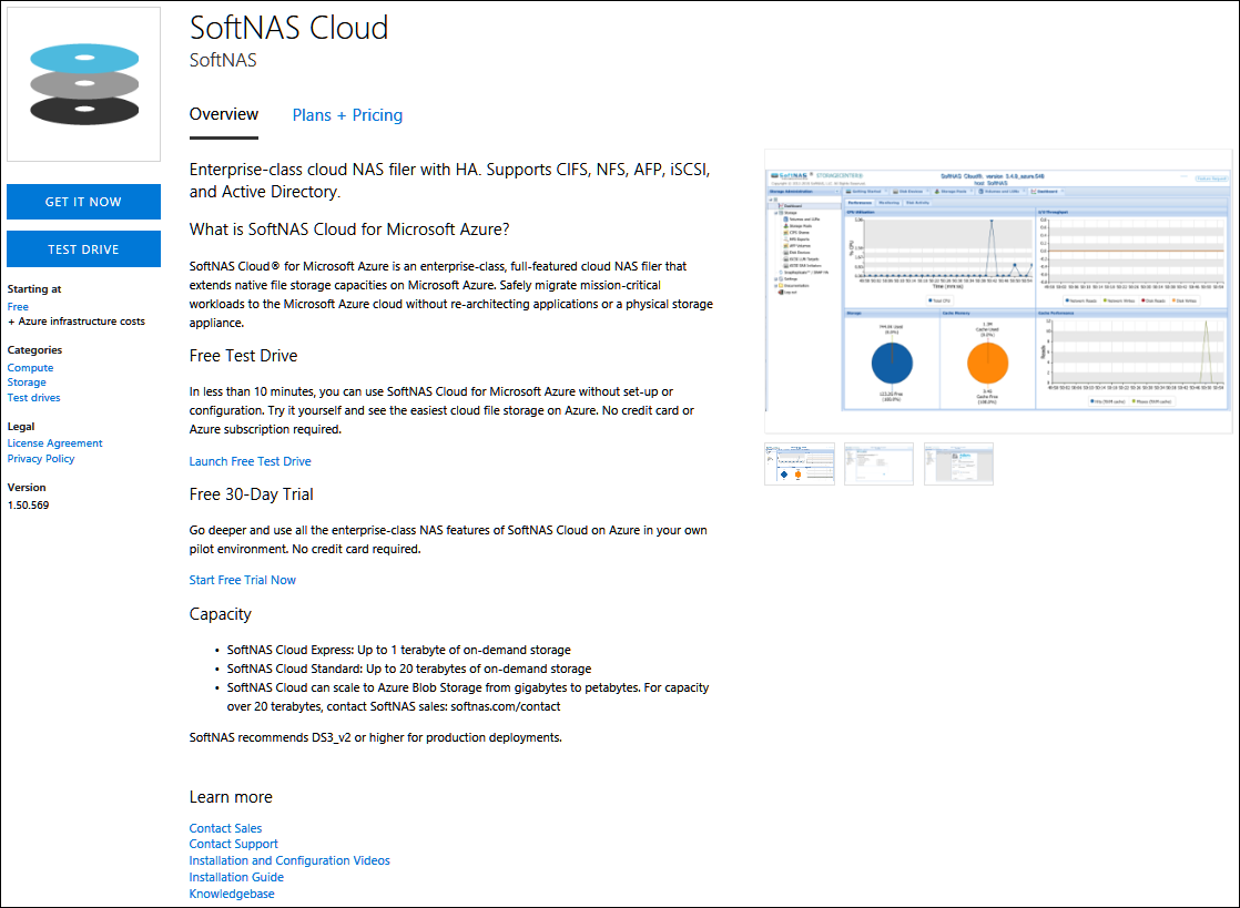 SoftNAS Cloud product page