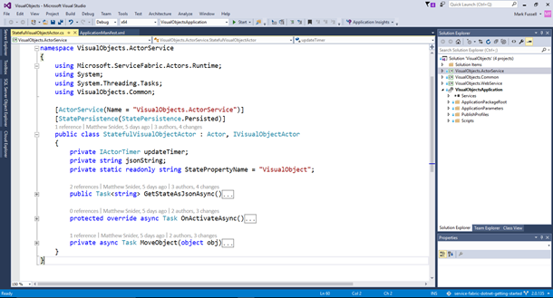 Service Fabric actor programming in Visual Studio