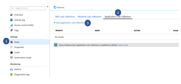 Adding to application rule collection screenshot