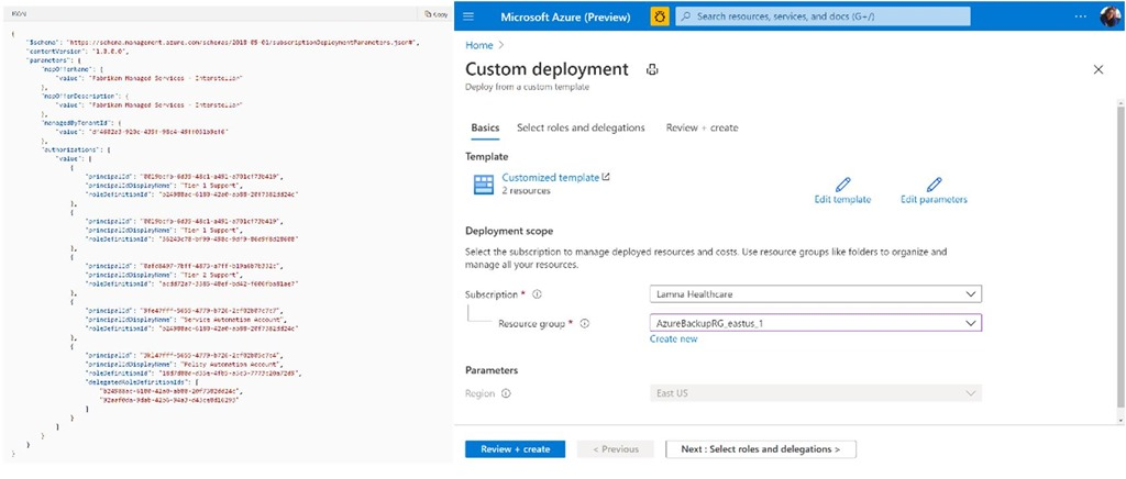 An example of an Azure Lighthouse ARM template offer and customer ARM template deployment workflow from the Azure Portal
