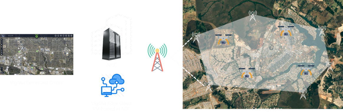 Map imagery with overlays demonstrating mobile network/LTE coverage of industrial site