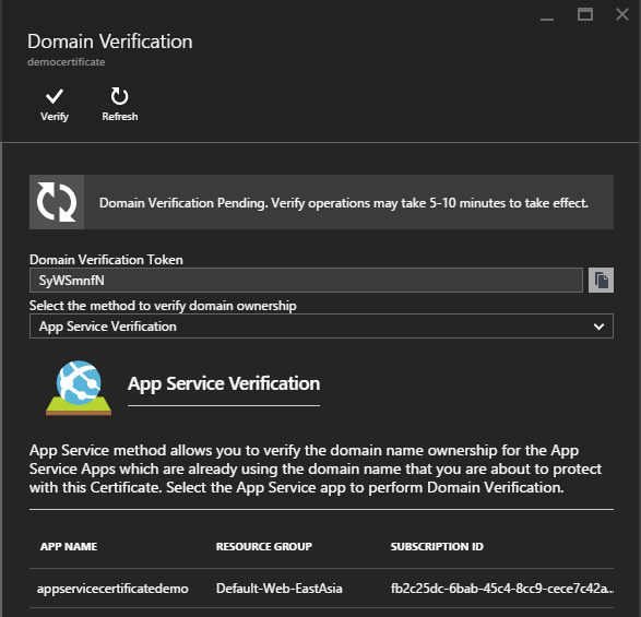 App Service Verification