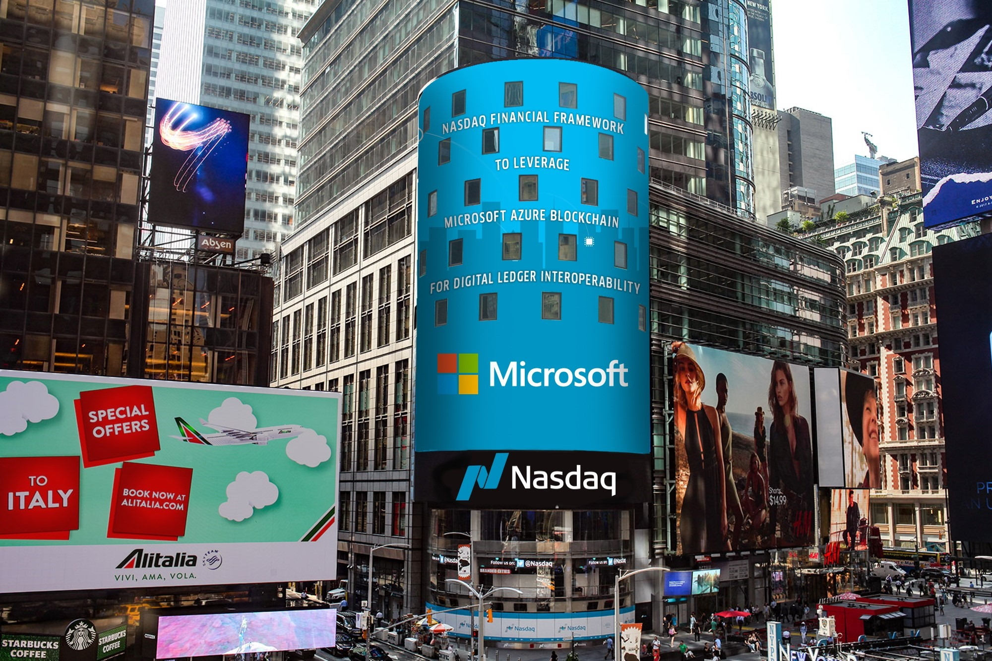 Photograph in Times Square showing the Microsoft and NASDAQ logos on a digital billboard