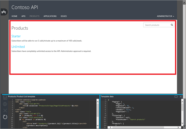 API Management developer portal templates