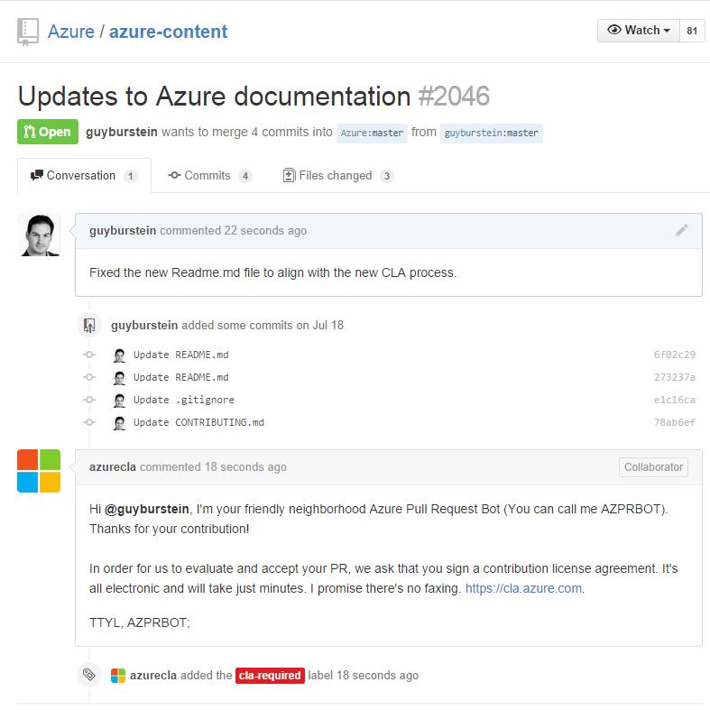 Azure Contribution Github