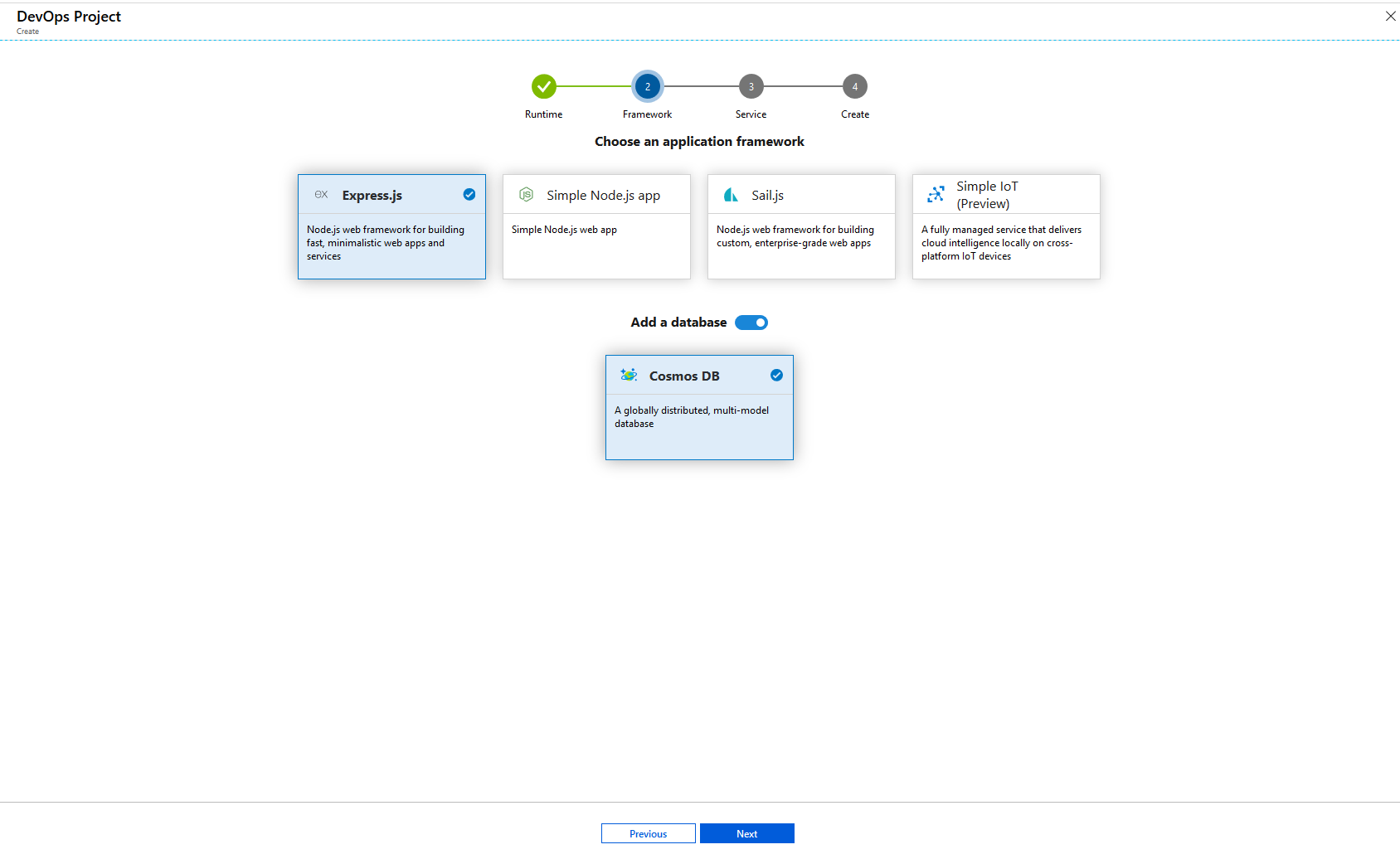 Select an Azure service to deploy the application screenshot