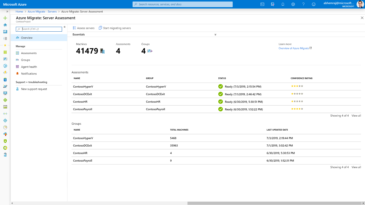 Microsoft Azure portal displaying the Server Assessment overview