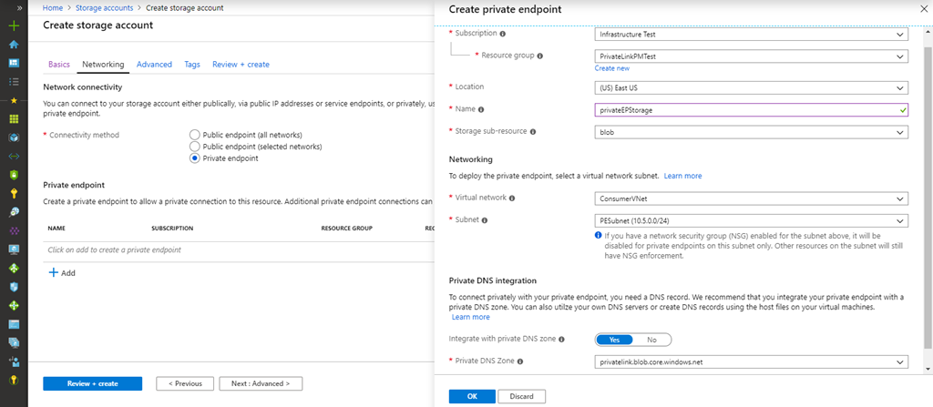 Azure portal experience for Private Link.