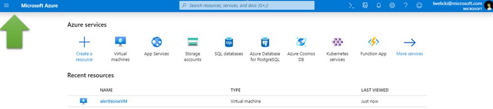 Capture d'écran montrant le bouton de menu dans le portail Azure.
