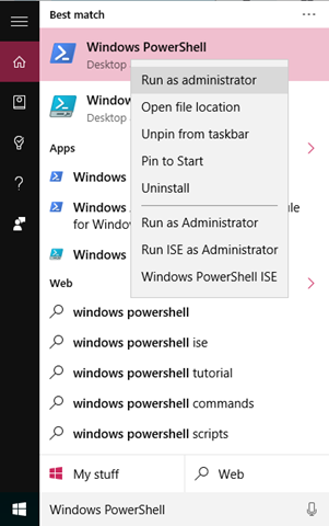 Open Elevated Windows PowerShell Prompt